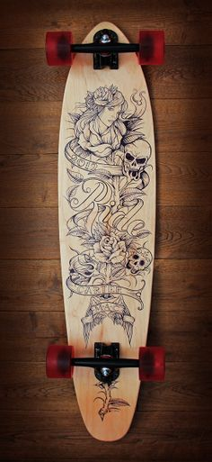 Longboard skateboard design and custom build, using sharpies with an over lacquer. skate, typography, hand drawn, lettering, graphic design, illustration, girl head, tattoo