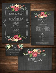 DIY Printable Chalkboard Floral Wedding Invitation