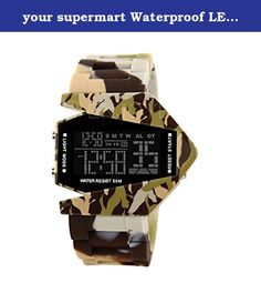 your supermart Waterproof LED Electronic Digital Watch Airplane Shaped Camouflage Yellow. Waterproof LED Multifunction Electronic Casual Style Watches Airplane Shaped with Colorful Backlight Camouflage Yellow Features: 100% Brand New and High Quality. Acts as a run seconds timer. Looks so fashion and waterproof. Ideal gift for the ones who like casual style. You could always have the exact time. With the colorful backlight of the item,you could see the time clearly in the dark. Three…