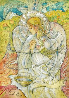 "Veda Ram ""Чистота"" Angel Guide, Religious Pictures, Angel Cards, Russian Art, Surreal Art, Surrealism, Fairy, Pets, Drawings"
