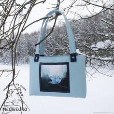 Купить Сумка из кожи Небесный цветок - голубой, подарок девушке, небо, сумка из кожи