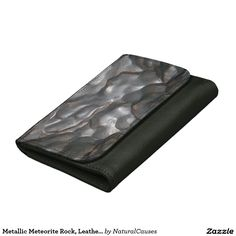 Metallic Meteorite Rock, Leather Medium Wallet
