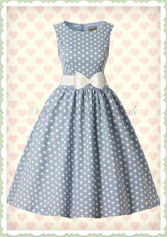 3d4c38526af52a Lindy Bop 50er Jahre Retro Punkte Petticoat Kleid - Audrey - Hell Blau