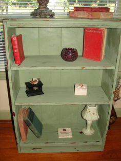 Small Green Bookshelf   How To Distress Furniture   Distressed Furniture Tutorials