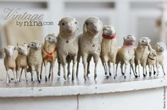 little sheep for the shepherds in the field where they lay. French Christmas, Antique Christmas, Primitive Christmas, Country Christmas, Antique Toys, Vintage Toys, Primitive Sheep, Baa Baa Black Sheep, Counting Sheep