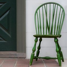 Traditional Windsor chair given an updated look by green paint