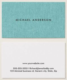 Modern and minimal professional business cards featuring a turquoise or aqua blue, printed linen texture. Customizable name on the front. White back with template field for contact information. A classy and elegant design.