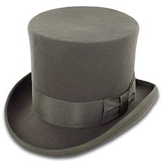 Belfry John Bull Theater-Quality Men's Wool Felt Top Hat in Gray or Black at Amazon Men's Clothing store: Fedoras
