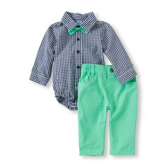 Baby Boys Long Sleeve Bow-Tied Button-Up Bodysuit And Pants Set