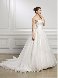 Ball-Gown Sweetheart Court Train Organza Wedding Dress With Ruffle Beading Sequins (002056923) - JJsHouse