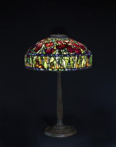 A Tiffany Studios Favrile glass and patinated bronze Tulip table lamp 1899-1918