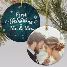 Celebrate their first couple of Mr and Mrs with a fun personalized ornament complete with your favorite of their wedding photos to make this Christmas truly special and give them an ornament they can cherish for many years to come. #weddinggiftideas #personalizedornaments #weddingornaments #photoornaments #newlywedChristmasgifts Wedding Christmas Ornaments, Wedding Ornament, 1st Christmas, Christmas Photos, Christmas Bulbs, Christmas Gifts, Word Art Design, Photo Ornaments, Newlywed Gifts