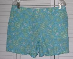 Vineyard Vines Shorts Size 10 Ladies Pineapple Pina Coladas Blue Fun Flat Front #Vine #CasualShorts
