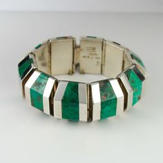 Bracelet |  Enrique Ledesma.  Sterling silver and Malachite.  ca. 1950s - 60s, Taxco