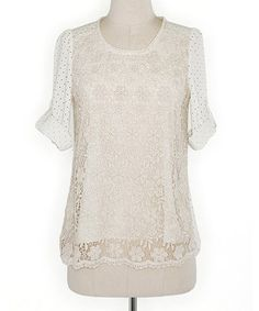 Look what I found on #zulily! Rice Lace The Dots Roll-Tab Sleeve Top by Deep or Shallow #zulilyfinds