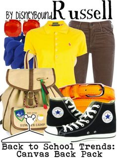 Russel from Up Back to School Disney World Outfits, Disney Themed Outfits, Nerd Fashion, Fashion Tv, Fandom Fashion, Disney Fashion, Disney Pixar Up, Disney Bounding, School Trends