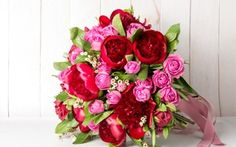 Wallpaper flowers, red, pink, roses, bouquet, tape, peonies