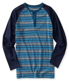 Kids' Long Sleeve Stripe Raglan Henley