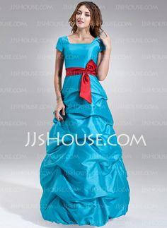 Bridesmaid Dresses - $142.99 - A-Line/Princess Square Neckline Floor-Length Taffeta Bridesmaid Dress With Ruffle Sash (007000958) http://jjshouse.com/A-Line-Princess-Square-Neckline-Floor-Length-Taffeta-Bridesmaid-Dress-With-Ruffle-Sash-007000958-g958