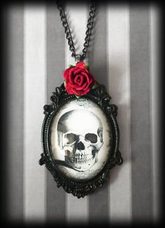 Gothic Skull Necklace with Rose, Glass Cameo Pendant, Victorian Steampunk, Gothic Gift, Handmade Jewelry, Gift For Her, Alternative Necklace by WhisperToTheMoon on Etsy