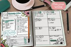 """Printable Weekly spread. printable planner, weekly inserts, bullet journal printable pages. If you love planning, like I do, you can plan your week and check your weekly commitments with this system - which I checked myself and it works for me great. You can print it on A5 (5.83"""" x 8.27""""), A4 size (8.27"""" x 11.69"""") or Happy Planner size (7'x9.25'). Choose one of tree colors, or print in different color for every week or month. #bulletjournal #layouts #template #bujo #ad"""