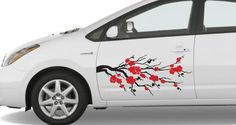 Cherry Blossom Car Decal. I'd like something less stiff and goes on my charcoal gray