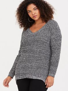 e7b6522e Grey Marled Embellished Pullover Sweater. Plus Size SweatersCozy Sweaters Tunic ...
