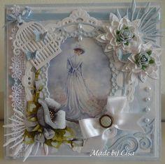 Voorbeeldkaart - Dame in het Blauw - Categorie: Scrapkaarten - Hobbyjournaal uw hobby website