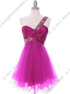 Fuschia One Shoulder Cocktail Dress