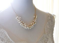 Gold Ivory Pearl Necklace Pearl Cluster by PearlyJaneBridal