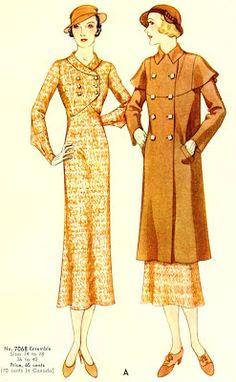 McCall 7068   ca. 1932 Misses' Dress and Coat