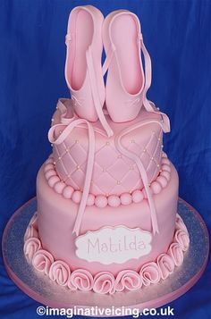 Pink ballet shoes birthday cake