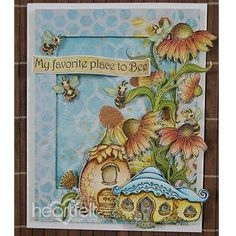 "My Favorite Place to Bee Handmade Card - Handmade greeting cards are the ideal way to show someone how special they are! This card sample has a ""bee-autiful"" scene created with the Sweet as Honey Collection from Heartfelt Creations! Save for later! #HeartfeltCreations #handmadecard #cardmaking #papercraft #scrapbooking #thinkingofyou #craftsupplies #rubberstamps #metaldies #diecutting #alteredart #mixedmedia #diycrafts #crafting #cardsample #friendshipcard #paperflowers"