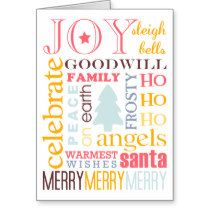 Holiday best colorful Christmas greeting non-photo Stationery Note Card