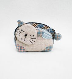 Lovely Kitten Zipper Quilted  Purse Blue Small Coin by MadeBySiam, $19.00