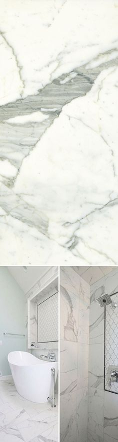 Classic - Statuarietto, the porcelain tile that look like marble, but its more durable. Ideal for floors and wall. #porcelaintile #marblelook #marble #bathroom http://www.stonepeakceramics.com/products.php