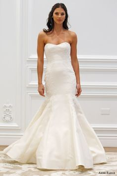 anne barge spring 2016 couture bridal villette strapless mermaid kalika wedding dress molded alencon lace accents runway