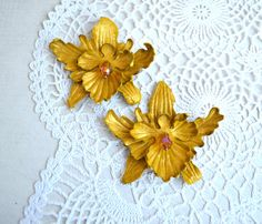 yellow gold orchid brooch or hairpins barrette от jewelryleather
