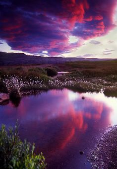 sunset clouds at midnight in Iceland, by Bruce Muirhead