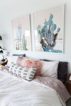 White Bedding, Fluffy Pillows And Cool Wall Art