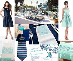We're absolutely loving this Navy and Aqua wedding inspiration board! We love the idea of using two shades of a single color to create your wedding color palette. We love how the dark navy … Wedding Pins, Wedding Bells, Dream Wedding, Wedding Day, Wedding Stuff, Wedding Wishes, Wedding Attire, Wedding Table, Perfect Wedding