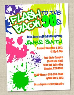 Graffiti Birthday Invitations - Neon Party Invitation - Retro 80s 90s invites via Etsy.