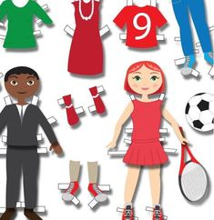 Dressed Up & Down Free Printable Paper Dolls | Dress up your free printable paper doll for a night out on the town or down for a soccer game with these cutouts.