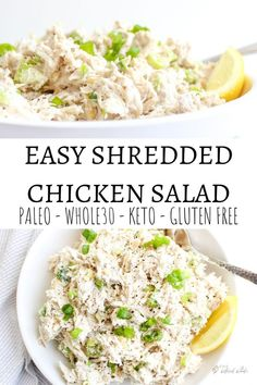 Easy Shredded Chicken Salad - The Bettered Blondie Easy shredded chicken salad is perfect for your weekly meal prep. It is a delicious and healthy low carb option that does not disappoint! Shredded Chicken Salads, Keto Chicken Salad, Chicken Salad Recipe Easy Healthy, Costco Chicken Salad, Low Calorie Chicken Salad, Healthy Shredded Chicken Recipes, Keto Egg Salad, Rotisserie Chicken Salad, Grilled Chicken