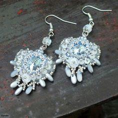 Abyss earrings - Swarovski Rivoli, Rizo, Miyuki and Matsuno seed beads, Czech charlottes