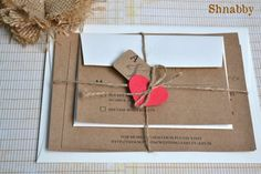 Natural and red heart wedding invitation - see details at http://themerrybride.org/2014/11/08/wedding-invitations-on-etsy-com/