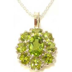 luxury peridot jewelry | Luxury Ladies Solid White 9K Gold Natural Peridot Large Cluster ...