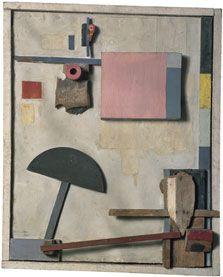 Kurt Schwitters Merzbild Kijkduin 1923 Óleo, lápiz y assemblage de madera sobre cartón. 74,3 x 60,3 cm Museo Thyssen-Bornemisza, Madrid