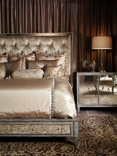 Bedroom design idea • Create a soft wall of curtains behind Bed - Traditional Style -  mirrored nightstand