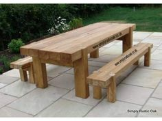 This bespoke large contemporary oak garden bench is handmade from rustic oak planks and is finished in a protective outdoor oil. Wooden Outdoor Table, Wooden Garden Table, Rustic Wooden Table, Pallet Garden Furniture, Garden Table And Chairs, Outdoor Chairs, Outdoor Furniture, Outdoor Decor, Outdoor Stuff